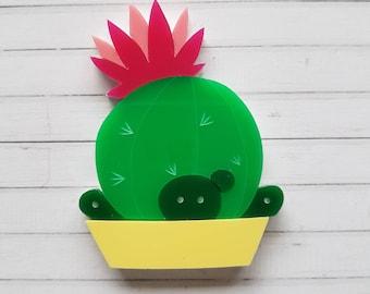 Cactus potplant laser cut acrylic brooch