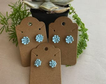 Teal Succulent Earrings - Polymer Clay - Polymer Clay Succulent Earrings
