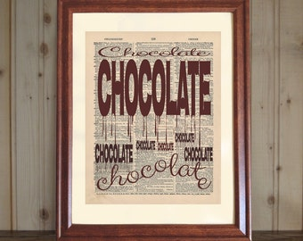 Chocolate Dictionary Print, Chocolate Lover's Gift, Chocoholic Gift, Chocolate Wall Art, Kitchen Decor, Chocolate Print on Canvas Panel