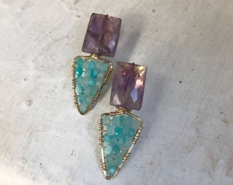 Goldfilled 14 k, amethyst and blue peruvian opal. 3 cm