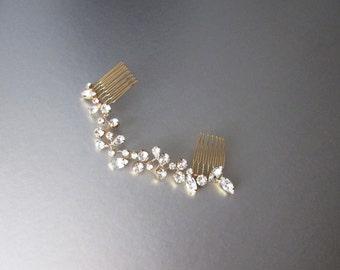 Swarovski crystal hair vine, Bridal hair comb, Wedding hair Swarovski hair vine, Dainty crystal hair vine, Sparkly bridal headpiece