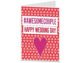 Wedding Card. Funny Wedding Card. Congratulations Just Married On Your Wedding Day. Congrats Bride & Groom Card. Wedding Cards