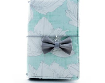 Mint Floral Fabric Cover Fauxdori, Travelers Notebook, Personal Size