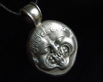 Medusa - Gorgon silver pendant, a coin replica of ancient Greek city Neapolis. Custom made
