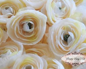 2 pcs Vanilla Ivory Silky Soft Ranunculus Artificial Flower Heads Color 3.5in DIY Bouquets Arrangements Hair Clips Wedding