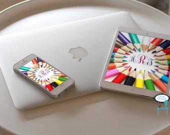 Art Colored Pencil Monogram iPad/iPhone Wallpaper  - Personalized Wallpaper - Custom Wallpaper - iPhone Background - Ipad Background