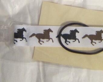 Handmade Horse Pacifier Clip Horses on White Color Grosgrain Ribbon