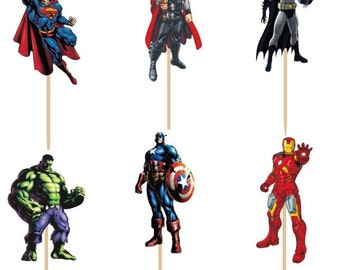 Avengers/ Superheroes Cupcake Double-Sided Toppers/Food Picks Party Decorating Favor Set of 24,Perfect For Any Boys Party