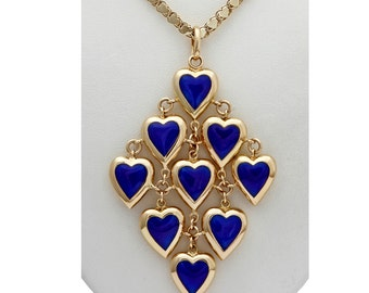 18kt gold multiple heart pendant with blue enamel