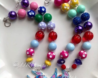 Rainbow Fish Chunky Necklace- Rainbow Fish Necklace- Colorful Fich Pendant- Rainbow Fish Party