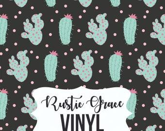 Cactus Vinyl / Cactus Heat Transfer Vinyl / Black Mint Cactus Vinyl / Adhesive Vinyl / Oracal Vinyl