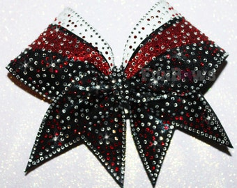 Tons of Bling ! Beautiful Glitter and  rhinestone cheer bow by FunBows !