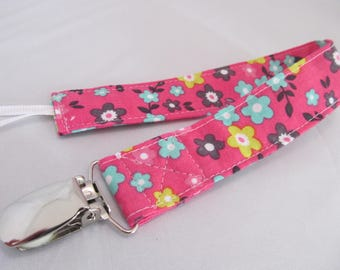 Universal Fabric Pacifier & Toy Clip - Spring Floral on Pink - Paci Clip, Teether Clip, Binky Clip, Baby Shower Gift