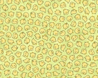 20% off thru 7/10 SHEEPS & PEEPS-by the half yard by QT fabrics-tossed yellow chicks on green-25752-H Quilting Treasures