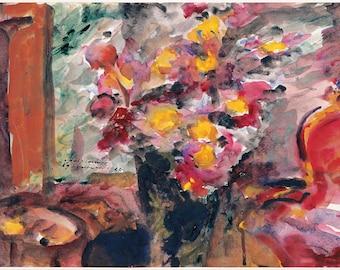 Lovis Corinth: Flower Vase on a Table. Fine Art Print/Poster (004397)
