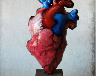 sculpture - anatomical heart soft sculpture, mourning, science, heart, human, wedding, valentines day, curiosity, halloween, HANDPAINTED