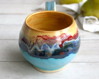 Colorful and Fun Coffee Mug in Dripping Glazes Carved Stoneware Pottery Coffee Cup 16 oz. Made in USA Ready to Ship