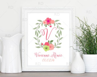 Floral Monogram Initial - PRINTABLE Wall Art / baby, child first and middle name with DOB / Nursery Room Wall Art / Nursery Printable