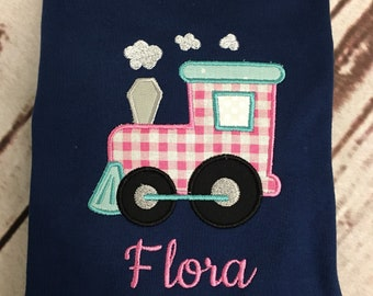 Girls Applique Train short or long sleeve shirt with name Toddler and Youth size FREE SHIPPING