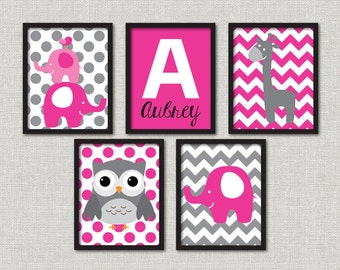 Set of 5 modern jungle nursery prints- customize the colors!  You choose the size!