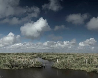 Big Sky, Grasslands, Marsh, Texas, Brazoria National Wildlife Refuge, Fine Art Panoramic Print
