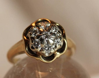 Vintage 14k Natural Diamond Cluster Ring, Approx. 0.4ct Diamond Ring, Size 6.5 Diamond Ring, Vintage Diamond Wedding Ring