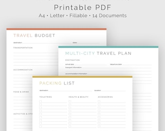 Travel Planner Kit (14 documents) - Fillable - Printable PDF - Travel Plan, Vacation Planner - Business Planner - Instant Download