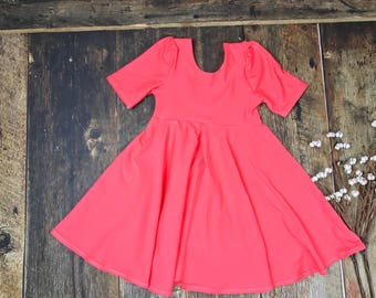 Baby, Toddler, Girl Twirl Dress in Coral, Girl Circle Dress, Girl Birthday Dress, Holiday Dress