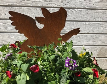Rustic Flying Pig When Pigs Fly  Flower Pot Garden Stake  Farmhouse  Rustic Distressed