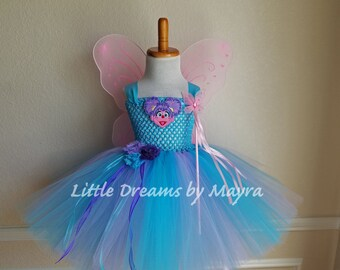Abby Cadabby inspired tutu dress wings, wand and hairlip, Abby Cadabby birthday party inspired outfit size nb to 14years, small adult tutu