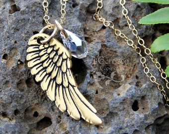 Gold angel wing necklace - gold plated angel wing & Swarovski crystal teardrop on 14k gold filled delicate chain - free shipping in USA