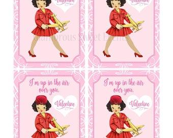 INSTANT DOWNLOAD, Vintage Stewardess Valentine Cards, Valentine Flight Attendant, Printable