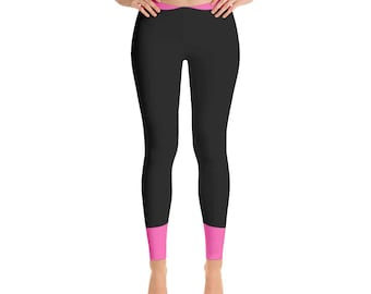 Leggings,Black,Pink,Color,Womens,Yoga,Workout,Tights,Pants,Stretch,Spandex,Print,Pattern,Stretchy,Clothing,Fashion,Unique,Printed,Design