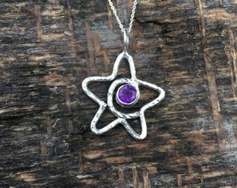 Amethyst star pendant necklace. February birthstone. Purple faceted stone. Textured star necklace