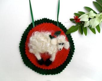 Needle felted  lamb ornament