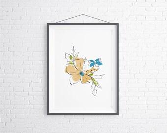 Butterfly Botanical Wall Art, Living Room Botanical Wall Art, Boho Botanical Wall Art, Digital Download