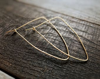 Gold Triangle Hoops / Triangle Hoops / Gold Hoop Earrings / Thin Gold Hoops / Rose Gold Hoop Earrings / Silver Hoops