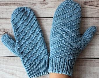 handknit blue mittens, winter merino mittens, striped gloves, wooly mittens, winter gloves, MADE TO ORDER