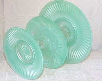 Mint Green 3 Tier Vintage Reclaimed Cupcake Stand Serving Platter Made To Order