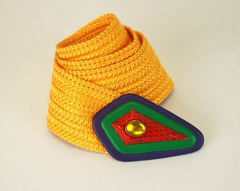 1980s belt wide stretch cinch belt yellow woven avant garde buckle leather buckle with jewel I.B. Diffusion Belts