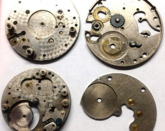 Five (5) vintage pocket watch main plates