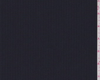 Deep Navy Pinstripe Wool Suiting, Fabric By The Yard