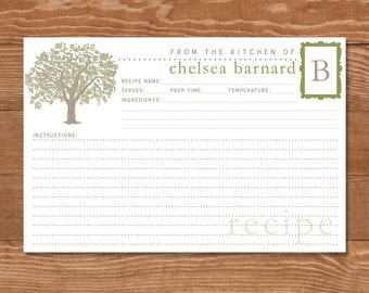 Reserved for Susan Broderdorp, 50 Personalized Oak Tree Recipe Cards, Double Sided 4x6, Monogrammed Initial, Olive Green, Taupe, Christmas