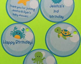 10 Sea creatures favor tags, birthday party fovor tags, tags sea creature, octopus, sea turtle, crab, starfish, blowfish