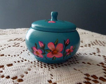 Hand Painted box, Turquoise Ring box, Wooden round box, Small Ring Box, One of A Kind box, Unique gift, Trinket box,