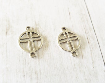 Cross Connector Charms Antiqued Silver Cross Pendants Connectors Silver Cross Charms Cross Links Religious Charms Christian Charms 2 pieces