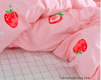 "Wide 92"" Cotton, Strawberry Quilting Cotton Fabric Red Strawberry In Pink White Plaid Cotton - 1/2 yard"