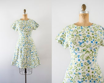 1960s Spring Frolics floral cotton dress / 60s birds & butterflies