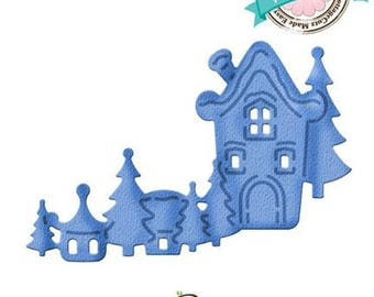 "Die cut metal ""Village"" winter matrix Cottage Cutz"