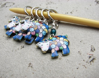 Sheep Non-Snag Stitch Markers, Enameled, Multicolored, Rainbow